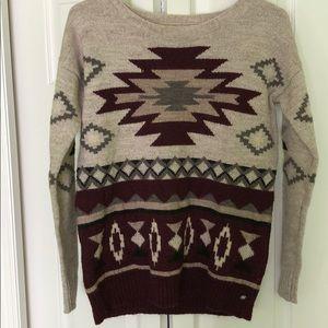 Tribal print knit sweater